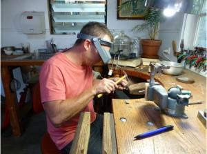 Silversmith Dougal Haslem crafting the Sugar Gum and silver petal pieces